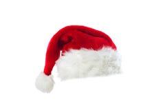 Cappello rosso della Santa isolato su bianco Immagini Stock Libere da Diritti