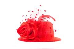 Cappello rosso della signora isolato su bianco Fotografia Stock Libera da Diritti