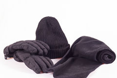 Cappello, sciarpa e guanti Immagini Stock