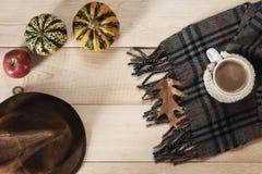 Cappello, sciarpa e tazza dreesed fotografie stock