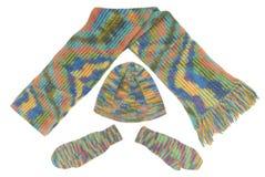 Cappello, sciarpa, guanti Fotografia Stock