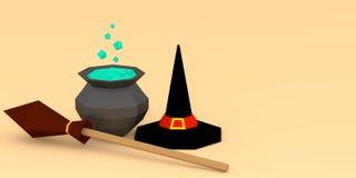 Cappello, scopa e calderone della strega di entourage di Halloween sull'illustrazione leggera del fondo 3D illustrazione di stock