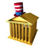 Cappello superiore americano che si leva in piedi sopra il bui di borsa valori Fotografia Stock Libera da Diritti
