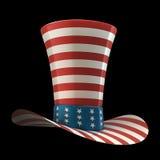 Cappello SUPERIORE degli S.U.A. isolati sul nero Fotografia Stock