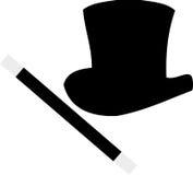 Cappello superiore e bacchetta del mago Fotografia Stock