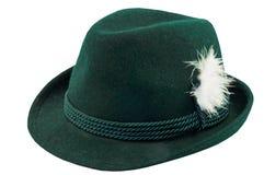 Cappello verde con una piuma immagine stock libera da diritti