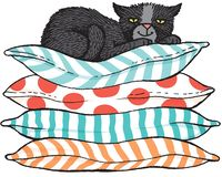 Cector sketch of a black cat sitting on a pile of cushions stock illustration