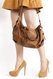 Cappotto d'uso della donna e pompe marroni Immagini Stock