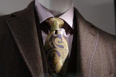 Cappotto del Brown, camicia dentellare, legame Fotografie Stock