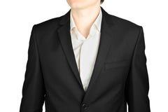 Cappotto del primo piano del vestito degli uomini grigio scuro con una camicia bianca Fotografia Stock