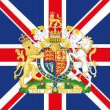 Cappotto del Regno Unito del braccio e della bandiera Fotografie Stock Libere da Diritti