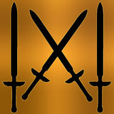 Cappotto della siluetta trasversale dorata della spada delle braccia Immagine Stock
