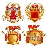 Cappotto delle braccia reale Re e regno, insieme dell'emblema di vettore illustrazione di stock