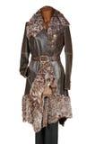 Cappotto di cuoio con pelliccia immagine stock