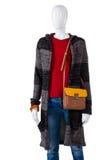 Cappotto di cuoio del maglione e della borsa Fotografia Stock