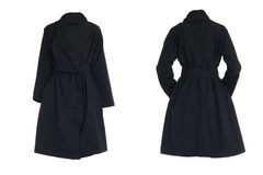 Cappotto nero femminile Fotografia Stock
