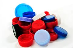 Cappucci di recupero di plastica Fotografia Stock