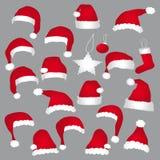 Cappucci di Santa e decorazioni di natale Immagine Stock Libera da Diritti