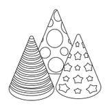 Cappucci sotto forma di coni per il partito Faccia festa e singola icona dei partiti nell'illustrazione delle azione di simbolo d Immagine Stock Libera da Diritti