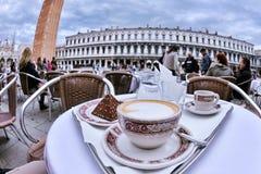 Cappuccinno. Cup of coffee cappucinno drink in outdoor restaurant stock photography