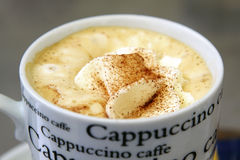 Cappuccino. With a cup of cappuccino and lettering Stock Image