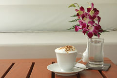Cappuccino. At a contemporary cafe Royalty Free Stock Photo
