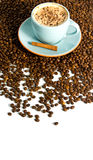 Cappuccino. On white background with coffee beans Stock Image