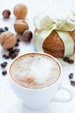 Cappuccino and almond cookies Stock Photography