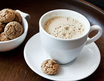 Cappuccino with Amaretti Biscuits Stock Images