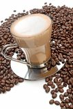 Cappuccino And Roasted Coffee Beans Royalty Free Stock Image