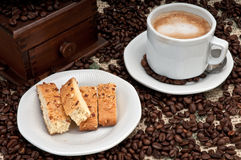 Cappuccino and Biscotti Stock Photo