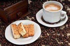 Cappuccino and Biscotti Stock Photo