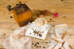 Cappuccino and biscuits Stock Image