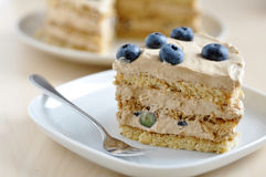 Cappuccino Blueberry Cake Stock Photo