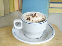 A cappuccino with books Royalty Free Stock Photos