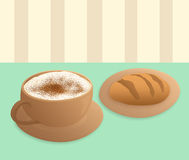 Cappuccino and bread Stock Image