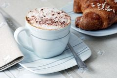 Cappuccino with brioche Stock Photo