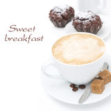 Cappuccino with brown sugar and chocolate muffins,  Stock Images