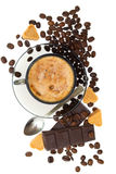 Cappuccino, brown sugar and coffee beans Royalty Free Stock Image