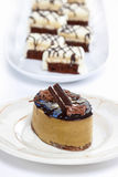 Cappuccino cake on white plate Stock Image