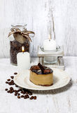 Cappuccino cake on white plate Stock Images