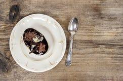 Cappuccino cake on white plate Stock Photo