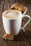 Cappuccino and cantuccini Stock Photos