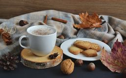 Cappuccino chaud Autumn Time de café de tasse de thé Image stock