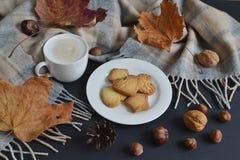 Cappuccino chaud Autumn Time de café de tasse de thé Photo libre de droits