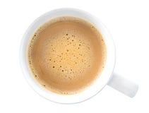 Cappuccino chaud de latte de café de vue supérieure d'isolement sur le backgroun blanc image stock