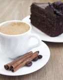 Cappuccino and chocolate cake Stock Photography