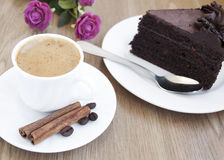 Cappuccino and chocolate cake Stock Image