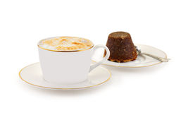 Cappuccino with chocolate cake Royalty Free Stock Photography