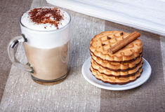 Cappuccino with chocolate chip cookies with chocolate, cinnamon, Stock Photos